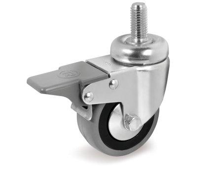 Колесо серая резина с болтовым креплением и тормозом (3064050)