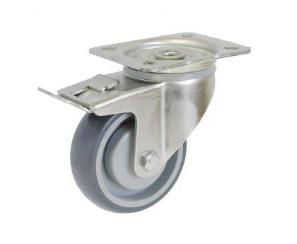 Колесо серая резина поворотное с тормозом (3054100)