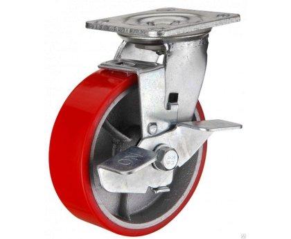 Колесо полиуретановое поворотное с тормозом (Medium) (1044075 M)