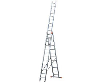Лестница-стремянка трехсекционная KRAUSE Tribilo Trigon 3x14 ступеней (129727)
