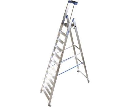 Стремянка KRAUSE Stabilo с роликами 10 ступеней (124661)