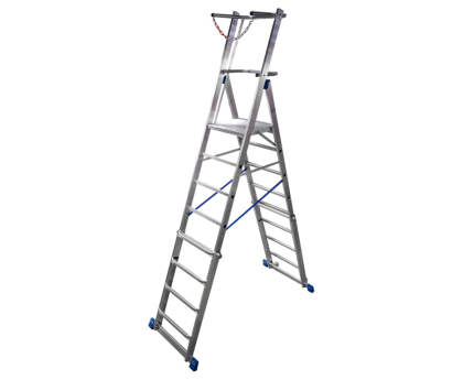 Телескопическая лестница с платформой KRAUSE Stabilo 8-10 ступеней (127648)
