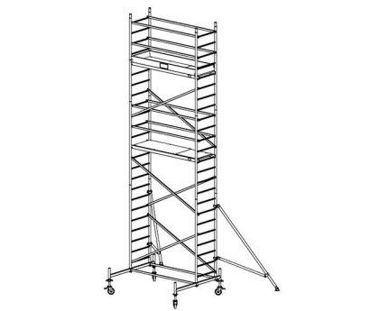 Модульная вышка строительная KRAUSE ProTec 0,7x2,0м (7,3м) (910158)